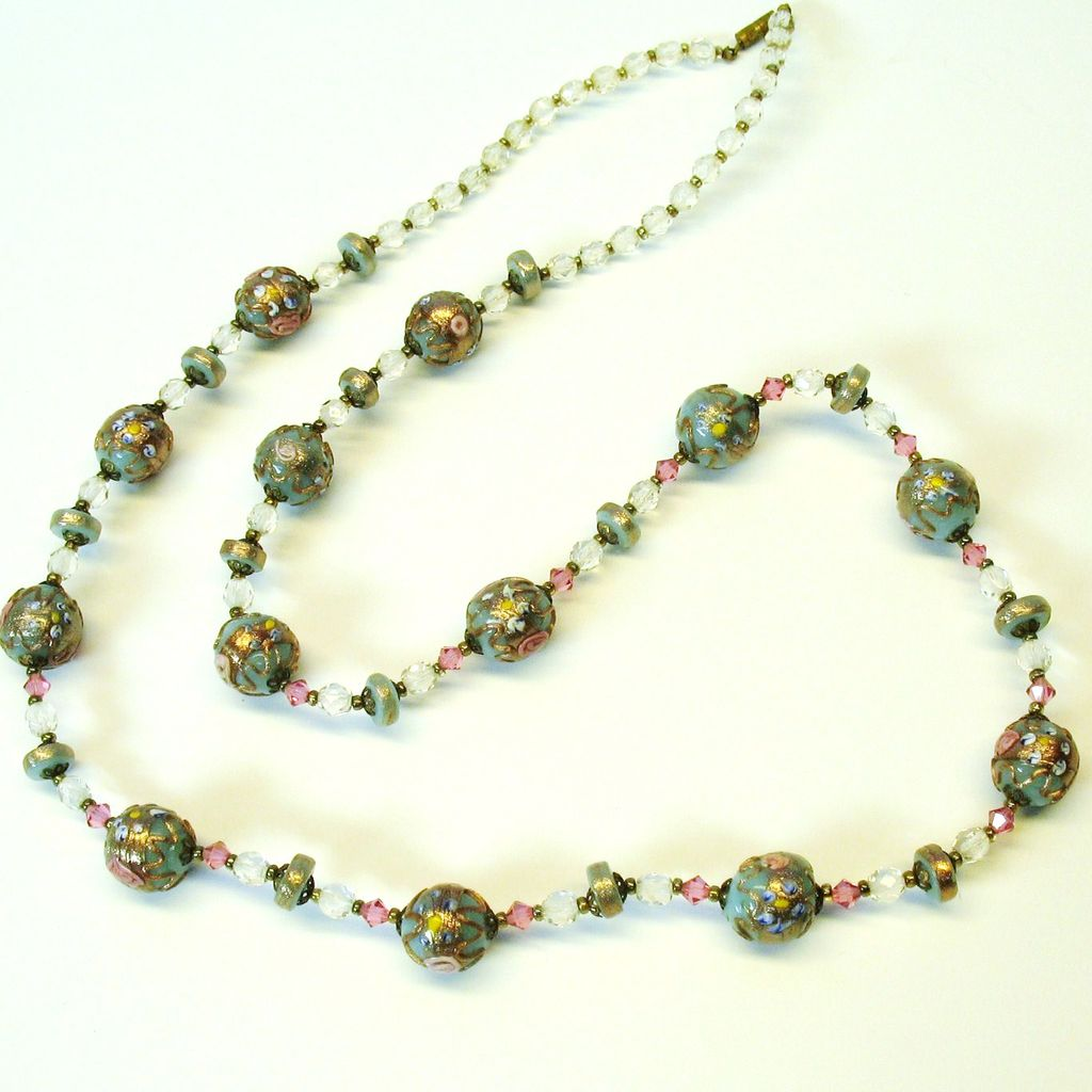 "33""  antique necklace of Venetian glass Wedding cake beads"