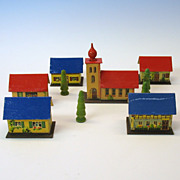 French Fashion doll chromolitho paper Toy Village set