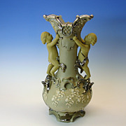 Large antique figural Villeroy & Boch LAVA WARE vase