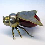 Vintage figural Honey Bee silvered and cranberry glass honey pot