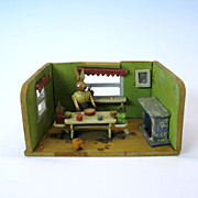 Adorable antique &quot;dolls toy&quot; of a rabbit diorama shadow box
