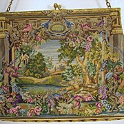 Super fine vintage petite point scenic tapestry purse