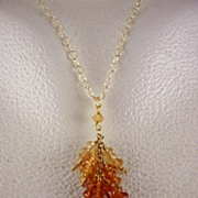 "SALE 14K & 22K Solid Gold~ Hessonite Garnet ""Cluster"" Necklace"