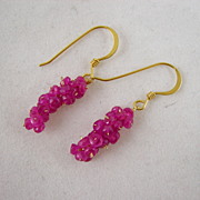 SALE 18k solid Gold~ AAA Pink Sapphire mini-cluster earrings!