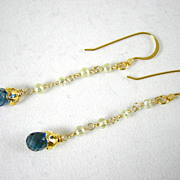 SALE 18K Solid Gold~AAA Canary Diamonds & London Blue Topaz  earrings~ WOW!