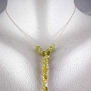 SALE 18K Solid Gold~ Grossular Garnet Y Necklace~ Gorgeous!
