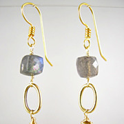 SALE 18K Solid Gold~ AA Blue Flash Labradorite Earrings