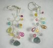 SALE Sterling Silver~ Botanica Earrings w/ multi-gems