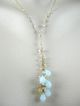 "18K Solid Gold~AAA Peruvian Opal & Japanese Keishi Pearl Necklace~new 09"" collection"