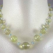 "SALE 18K Solid Gold~ AAA Lemon Citrine & Blue Zircon ""Baubles""  Necklace"