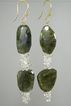 18K Solid Gold~ Bold Labradorite & White Topaz Earrings~ Stunning!!