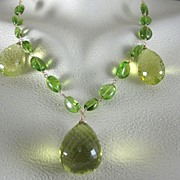 SALE 18k Solid Gold~ AAA Lemon Citrine & Peridot triple drop Necklace