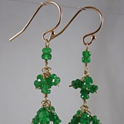 SALE 18K Solid Gold~ AAA Tsavorite Fringe Earrings 2""