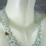 "SALE 14K Gold Filled~ AAA Triple Strand Swiss Blue Topaz w/ Hessonite cluster ""Ava"""