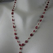 "SALE 18K Solid Gold~ Red Spinel ""Leaf"" Necklace~NEW 2011"