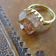 "SALE 18K solid gold~ Imperial Topaz Crystal ""Crown"" Ring~ one-of-a-kind!"