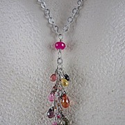 SALE 14K White Gold~ Multi-color Natural Sapphire Necklace