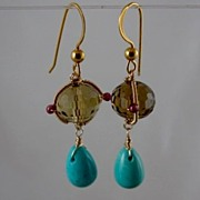 SALE 14k & 18k solid gold~AAA Topaz & Sleeping Beauty Turquoise Earrings~2012