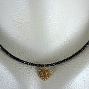 SALE 18K Solid Gold~AAA Black Spinel & Rose Cut Diamond Heart Pendant Necklace~ 2012 New~ only