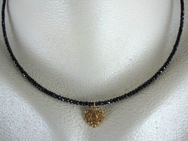 18K Solid Gold~AAA Black Spinel & Rose Cut Diamond Heart Pendant Necklace~ 2012 New~ only one!