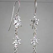 "SALE Fine Silver 99.9% ~ AAA Herkimer Diamond ""Captured"" Earrings ~limited edition 2"
