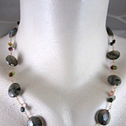 SALE 14K & 22K Solid Gold~ AAA Blue Flash Labradorite & Tourmaline Necklace~new 2012