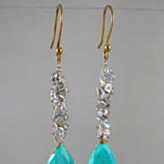 SALE 18K & 14K Solid Gold~ AAA Sleeping Beauty Turquoise & Keishi pearl Earrings~ 3&quot;