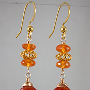 SALE 18K Solid Gold~AAA Mandarin Garnet (Spessartite) Earrings~ New 2012