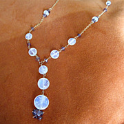 SALE 18K Solid Gold~AAA Ceylon Moonstone & mauve Sapphire Necklace~ stunning!!