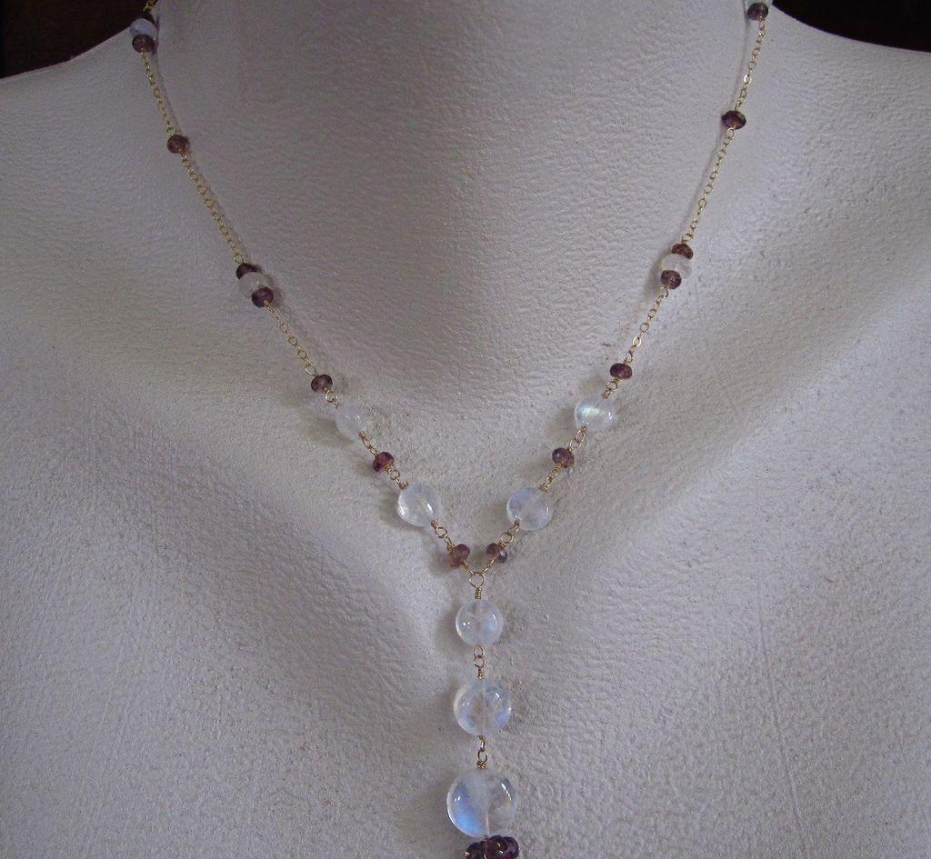18k solid gold aaa ceylon moonstone mauve sapphire