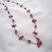 SALE 18K Solid Gold~AAA Pink Sapphire & Periwinkle blue Tanzanite Necklace