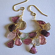 SALE 18K Solid Gold~ Gorgeous Watermelon Tourmaline Slice Earrings~ only one pair!