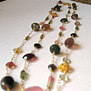 "SALE 18K Solid Gold~AAA Watermelon Tourmaline ""Divinity"" Necklace"