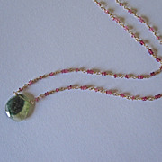 SALE 18K Solid Gold~AAA Pink Tourmaline & Watermelon Tourmaline Slice Necklace~ one of a kind!
