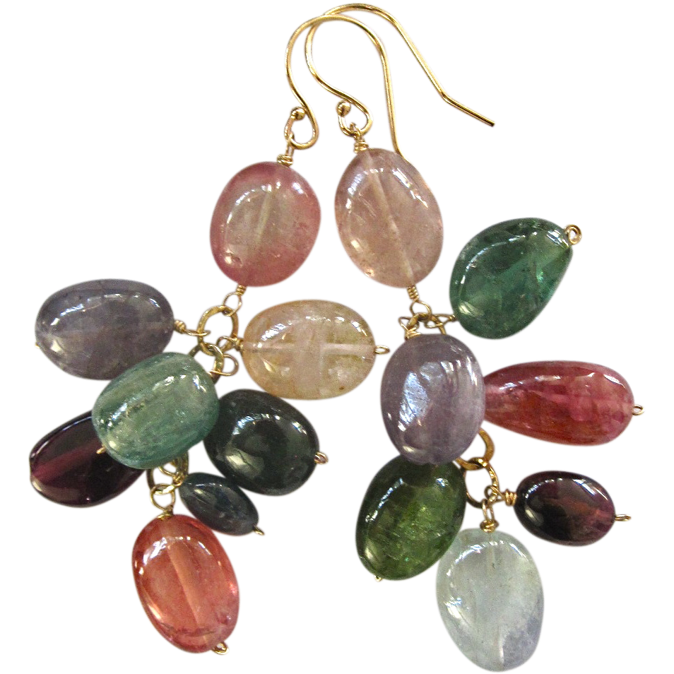 14k solid gold aa tourmaline multi color earrings for Natural multi colored roses