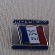 Iowa Pin 105th State Shoot 1981 Red White Blue Enamel