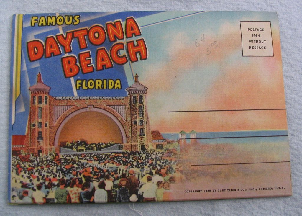 Souvenir Folder linen Daytona Beach Florida