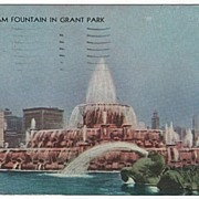 Buckingham Fountain in Grant Park Chicago Illinois World's Fair 1933 Postcard
