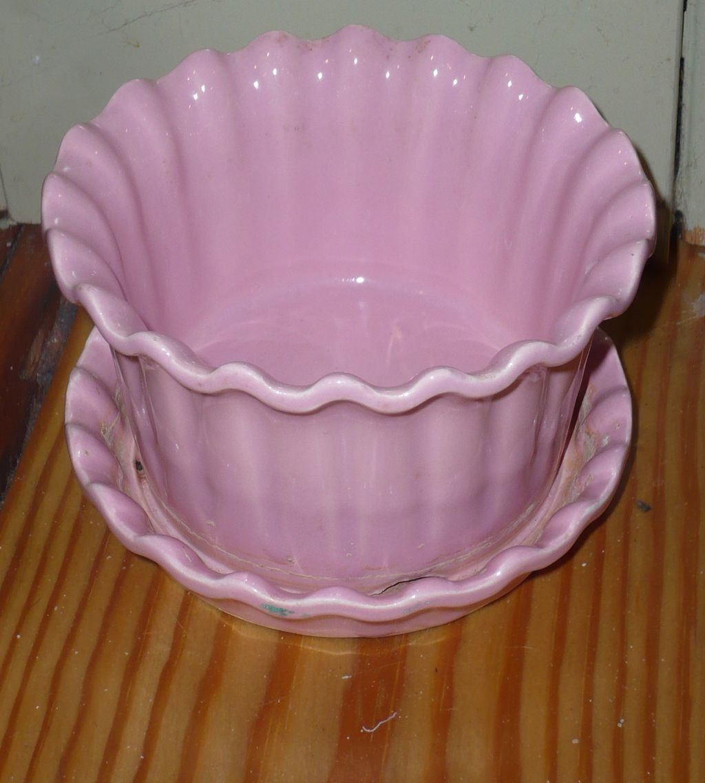 Unmarked Pink Flower Pot with Unglazed Rim on Foot