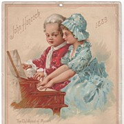 John Hancock Trade Card Calendar - The Childhood of Mozart - 1889
