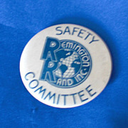 Remington Rand Inc Safety Committee Vintage Pinback Button