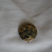 New York State 1901 Possibly State House Vintage Pinback Button