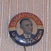 Joseph O' Mahoney Democratic Senator Wy Wyoming Candidate Pinback Button