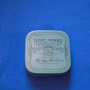 Ivory Brand Kee Lox Mfg Co Inc Light Blue and Black Typewriter Ribbon Tin