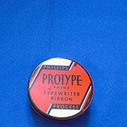 Phillips Protype Red Black and White Typewriter Ribbon Tin
