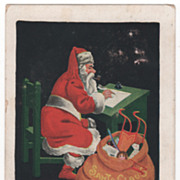 Christmas Postcard with Santa Claus Making a List beside a Bag of Toys