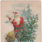 Christmas Postcard with Santa Claus Chopping Down a Christmas Tree