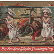 Thanksgiving Postcard with Two Child Chefs Carrying Turkey Gobbler to Fireplace
