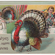 Thanksgiving Postcard with Chef with Gobbler on Platter & Gobbler Walking Floor