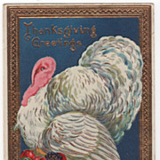Thanksgiving Postcard with White Gobbler with a Table Setting